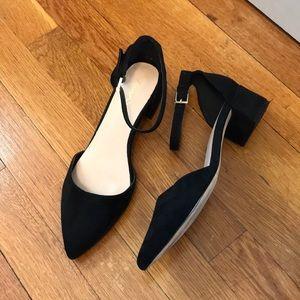 Aldo Zulian black suede block heel pointed toe